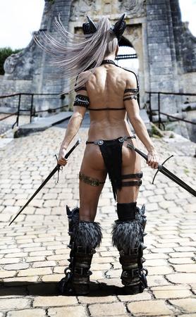 Gehärtete Kriegerin, die ihren Herausforderer am Tor wartet. Fantasie 3D-Rendering.