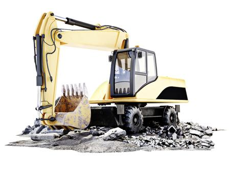 Bagger auf einem Gebäude Baustelle mit Schutt. Weiße Hintergrund 3D-Rendering