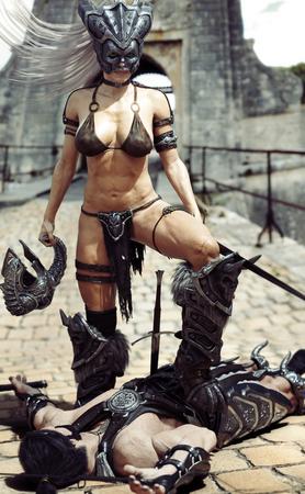 Hardened warrior female winning against her attacker. Fantasy 3d rendering.