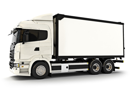 storage: Generic white industrial transport truck on an isolated white background. Room for text or copy space. 3d rendering Stock Photo