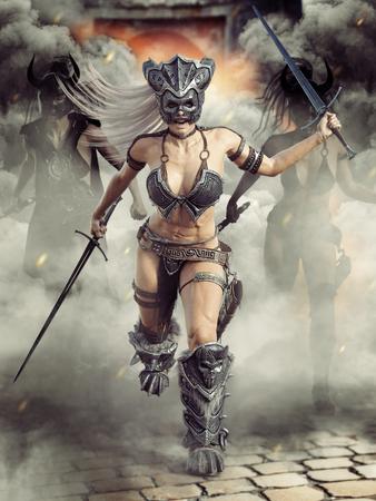 Heftige bewaffnete barbarische weibliche Krieger, die in den Kampf mit dort Führer vor Front .3d Rendering Illustration aufladen