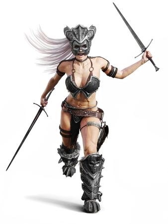 Fierce armed female barbarian warrior running into battle on an isolated white background. 3d rendering illustration