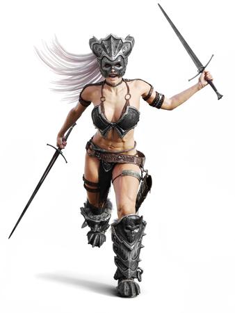 Heftiger bewaffneter weiblicher barbarischer Krieger, der in einen Kampf auf einem lokalisierten weißen Hintergrund läuft. 3D-Rendering-Abbildung