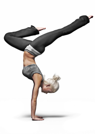 Fit female doing yoga. 3d rendering on an isolated white background.