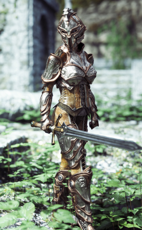 Female armored knight with sword on patrol. 3d rendering