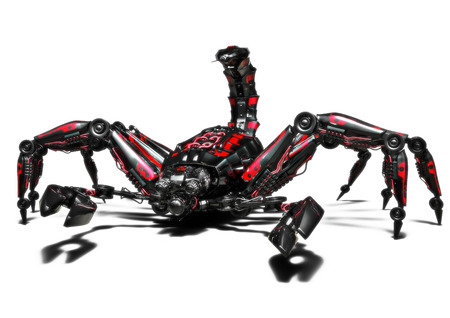 Mechanical dangerous scorpion concept on an isolated white background. 3d rendering