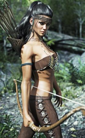 Ureinwohnerfrau, die traditionelle Ausstattung trägt und mit einem Bogen ausgerüstet wird. 3D-Rendering