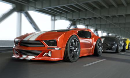 エキゾチックなレース車高速対決市橋の上。汎用車。3 d レンダリング。