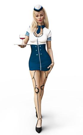 Cyber ??stewardess. De toekomst van vliegreizen is hier met een sexy vrouwelijke stewardess die wijn serveert. 3D-rendering geïsoleerd op een witte achtergrond. Stockfoto - 87907205