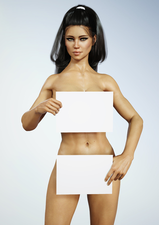 nude young: Beautiful exotic young naked brunette female holding white boards with room for text or copy space. 3d rendering