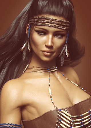 tribu: Ciérrese encima del retrato de una hembra nativa americana de presentación que lleva el vestido tradicional. Representación 3D