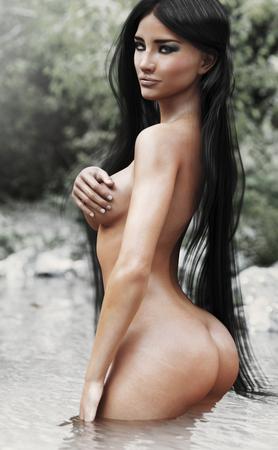 Porträt einer verlockenden Frau, die mit Natur sich entspannt. Wiedergabe 3d. 3d übertragen