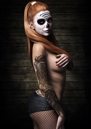 Side portrait of a red headed woman semi nude with skull make up and tattoos wearing net stalkings. 3d rendering
