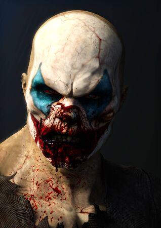 Evil blood thirsty clown . 3d rendering. Lizenzfreie Bilder