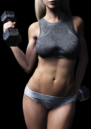 Athletic fit female posing with dumbbells on a black background. 3d rendering