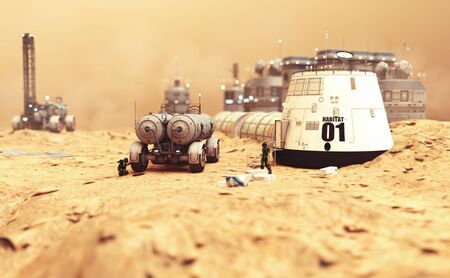 Habitat settlement research and living quarters on the desolate red planet of Mars. 3d rendering illustration