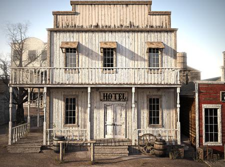 Hotel rustico occidentale della città. Rendering 3d Archivio Fotografico - 88045849