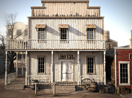 Western town rustic hotel. 3d rendering Stock Photo - 88045849