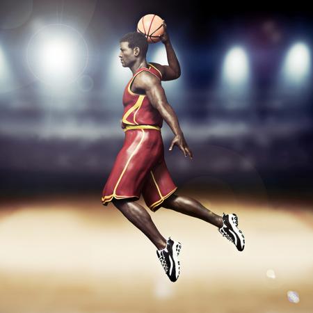 Basketball player going in for a slam dunk with stadium background. 3d rendering Lizenzfreie Bilder