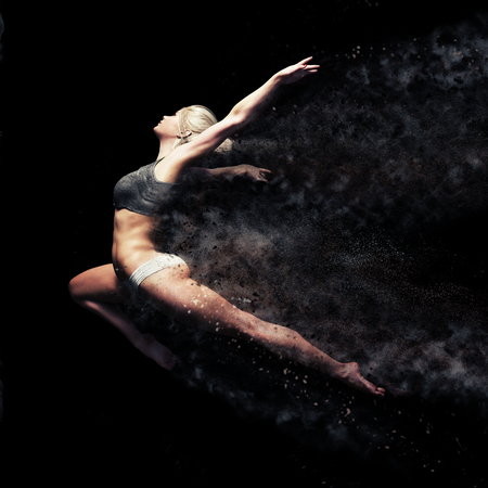 Athletic female leaping into the air with a black background. Symbolism of strength , power and beauty  . 3d rendering with dispersion effect. Lizenzfreie Bilder