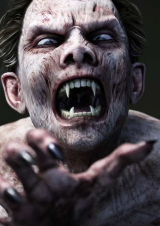Hungry blood sucking vampire reaching for his next victim. 3d rendering