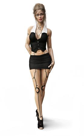 Cyber-Sekretärin. Die Zukunft des Geschäfts ist hier mit einem sexy weiblichen androiden Sekretär-Assistentenkonzept. Wiedergabe 3d getrennt auf einem weißen Hintergrund.