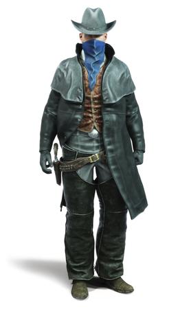 Porträt eines männlichen Cowboygeächteten in einer traditionellen Westausstattung bereitete vor sich, seine Waffe zu zeichnen. Wiedergabe 3d auf einem lokalisierten weißen Hintergrund.