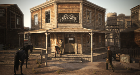 Populated western town saloon with various businesses . 3d rendering