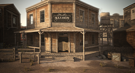 Western Town Saloon mit verschiedenen Geschäften. 3D-Rendering