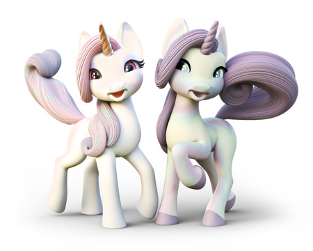 caballo bebe: Cute cartoon fantasy unicorns. Isolated on a white background. 3d rendering