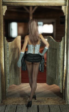 웨스턴 살롱에 strutting 막대기 소녀입니다. 3 차원 렌더링