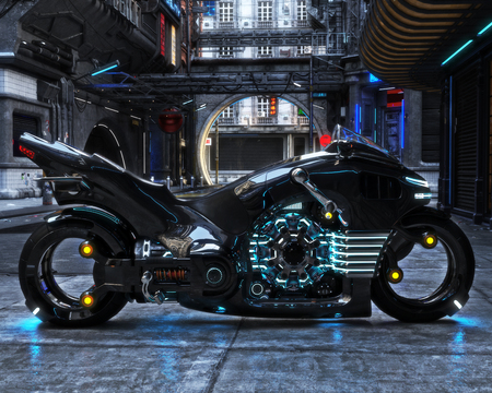 Futuristic light cycle on display. Motorcycle is displayed with a futuristic urban background.3d rendering Фото со стока
