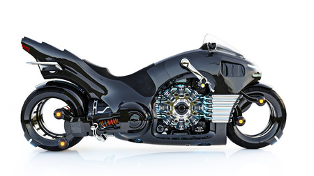 Futuristic light cycle. Motorcycle is on an isolated white background. 3d rendering 스톡 콘텐츠