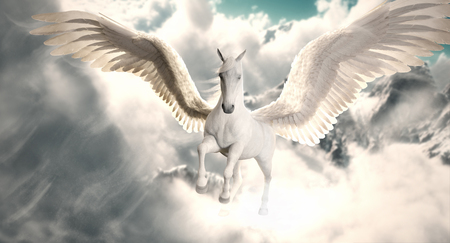 Vol du Pegasus. Le majestueux cheval Pegasus volant au-dessus des nuages ??et de la neige culminait dans les montagnes. Rendu 3D Banque d'images - 90958131
