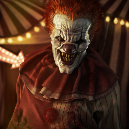 Frightening Evil looking clown posing in front of a circus tent. 3d rendering