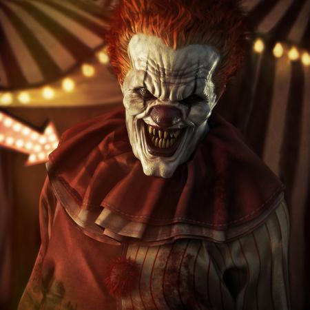 Angstaanjagend kwaad uitziende clown poseren voor een circustent. 3D-weergave Stockfoto