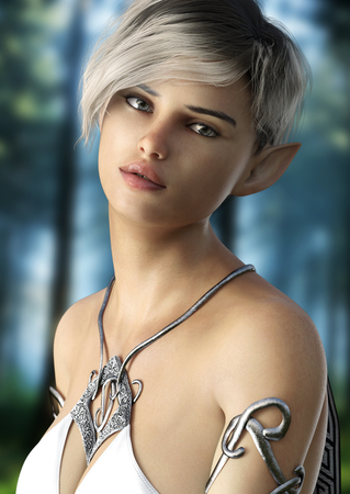 Fantasy elf female with short hair . Posing with a woods background. 3d rendering Stock Photo