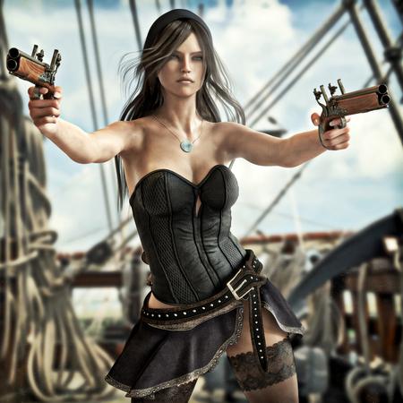 Fantasiepiraatwijfje dat twee pistolen trekt om haar schip te verdedigen. 3D-rendering Stockfoto
