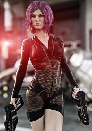 戦闘の準備ができて彼女の船の前でポーズデュエルレーザーピストルを保持する未来的な女性。3D レンダリング 写真素材