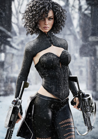 Fantasy female hunter holding duel crossbows tracking her target through snow. 3d rendering