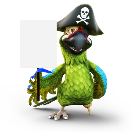 Smiling pirate parrot with peg leg, hat and patch holding a white board empty sign with room for text or copy space advertisement on a white isolated background. 3d rendering
