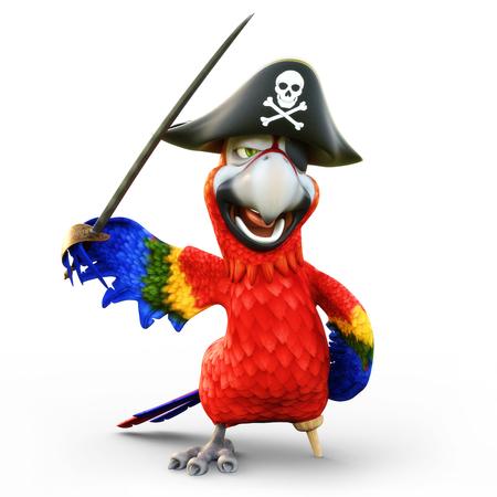 ペグ脚を持つ海賊オウムは、孤立した白い背景に帽子、パッチと剣でポーズ。3D レンダリング