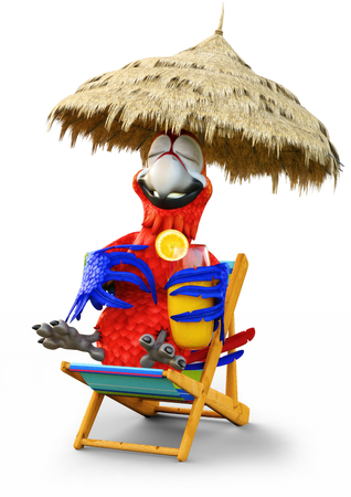 Humorous parrot relaxing with a drink on a white isolated background.Vacation,travel, relaxing concept. 3d rendering