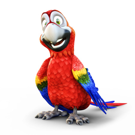 Humorous smiling parrot on an isolated white background. 3d rendering Фото со стока