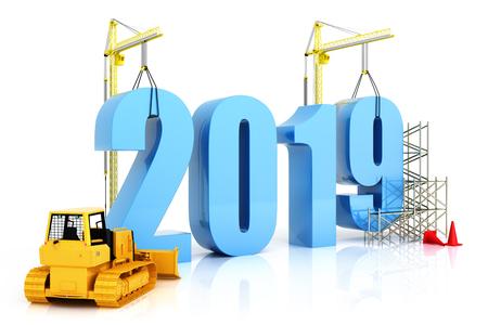 2019 년 성장, 건물, 비즈니스 또는 2019 년에 일반 개념에서 개선, 흰색 배경에 3d 렌더링