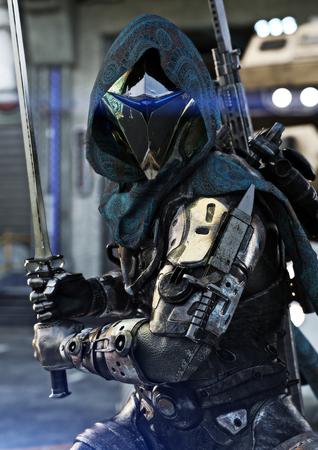 Chasseur de l'espace, marine blindée de science-fiction posant avec plusieurs armes et épée à la main. Rendu 3d Banque d'images - 94684010