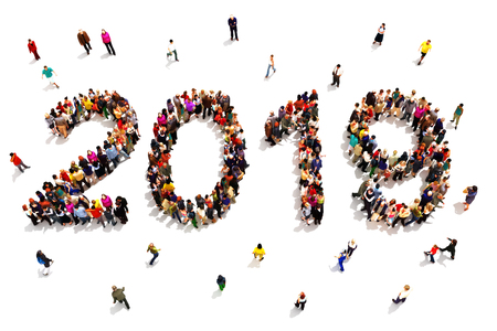 Bringing in the new year. Large group of people forming the shape of 2019 celebrating a new year concept on a white background. 3d rendering Stock Photo