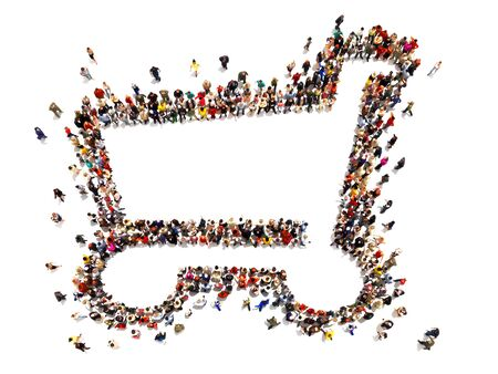 Large crowd of people forming the symbol of a shopping cart .Versatile Concept with room for text or copy space advertisement logo of a grocery or department store. 3d rendering isolated on white Stock Photo