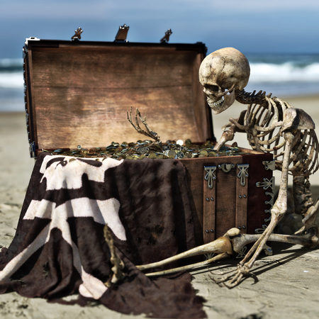 Portrait of an ancient skeleton holding coins from a pirate treasure chest off the coast of an island. 3d rendering