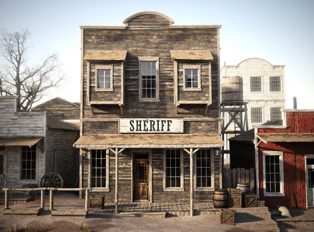 Rustic western town sheriff's office. 3d rendering. Part of a western town series Standard-Bild
